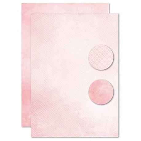Papír na pozadí A4 - bílé kroužky v růžové