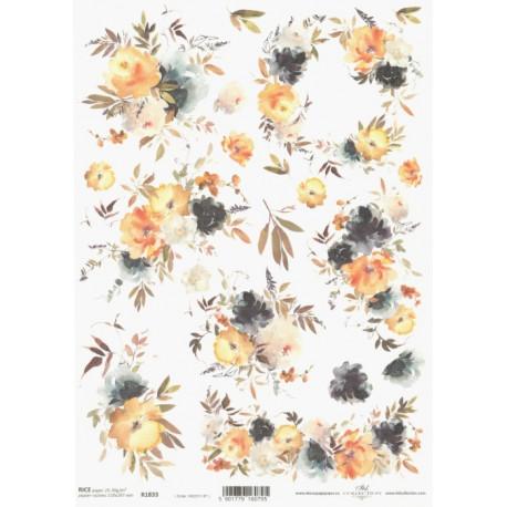 Papír rýžový A4 Akvarel, žluté květy