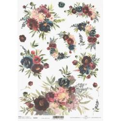 Papír rýžový A4 Akvarel, modré a vínově červené květy