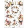 Papír rýžový A4 Akvarel, věnec, fialové a růžové květy