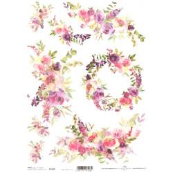 Papír rýžový A4 Akvarel, věnec, růžové květy