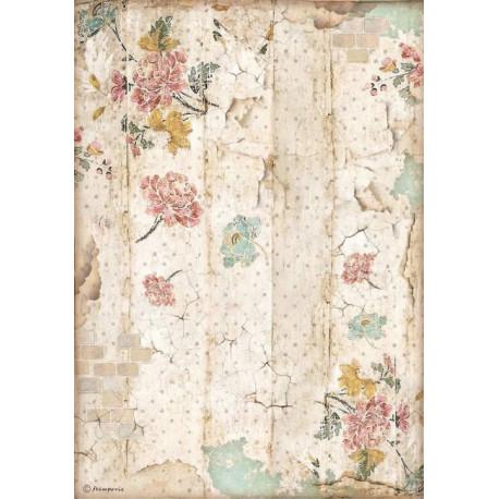 Papír rýžový A4 Alice, vzor s květinami