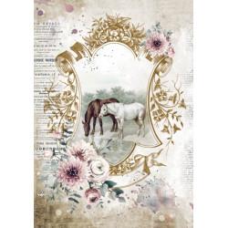 Papír rýžový A4 Horses, na pastvě