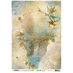 Papír rýžový A4 Waterfall, rocks, flowers New Awakening nr.10 (SL)