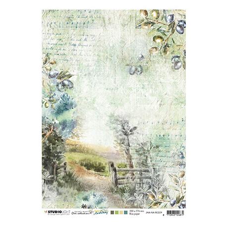 Papír rýžový A4 Country road, olive branches New Awakening nr.09 (SL)