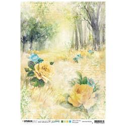 Papír rýžový A4 Forest road & roses New Awakening nr.06 (SL)