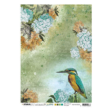Papír rýžový A4 Kingfisher, flowers New Awakening nr.05 (SL)