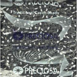 Rokajl skl.Preciosa 6/0 RH 4,2mm, 50g - transparentní, tmavě šedý průvlek