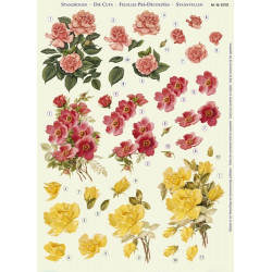 Papírové výřezy 3D - Růže růžové, červené, žluté