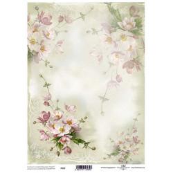 Pergamen pro scrapbook 112g - růžové květy