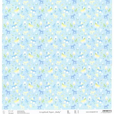 Baby, hračky modrý 30,5x30,5 scrap.papír