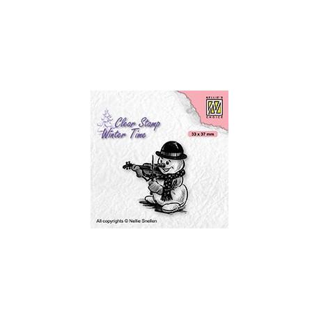 Transp.razítko Zimní čas - Sněhulák s houslemi (Nellie´s Choice)