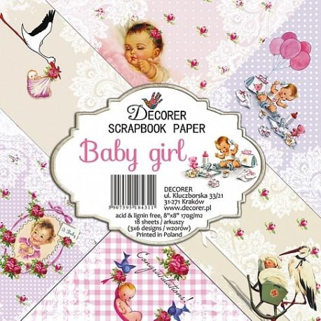 Sada papírů Baby girl 20x20 (Decorer)