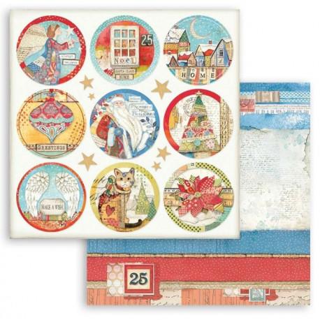 Christmas Patchwork, kulaté obrázky 30,5x30,5 scrapbook