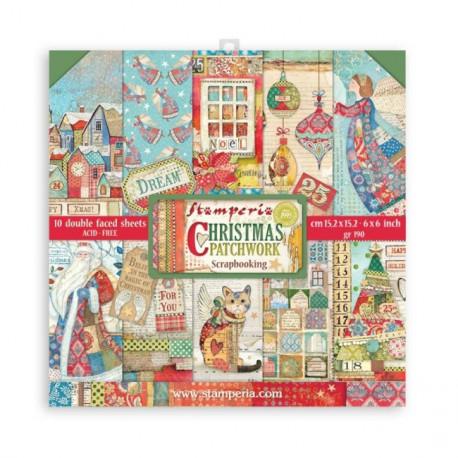 Sada papírů 15,2x15,2 190g Christmas Patchwork