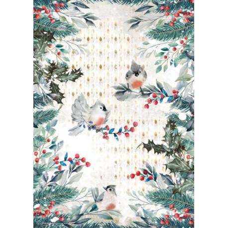 Papír rýžový A4 Romantic Christmas, ptáčci