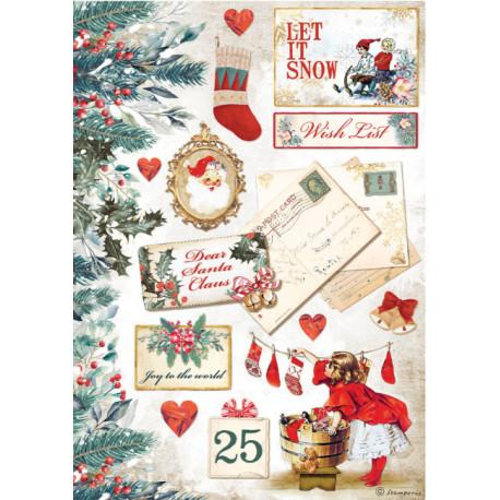 Papír rýžový A4 Romantic Christmas, pohlednice