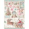Papír rýžový A4 Pink Christmas, sáně