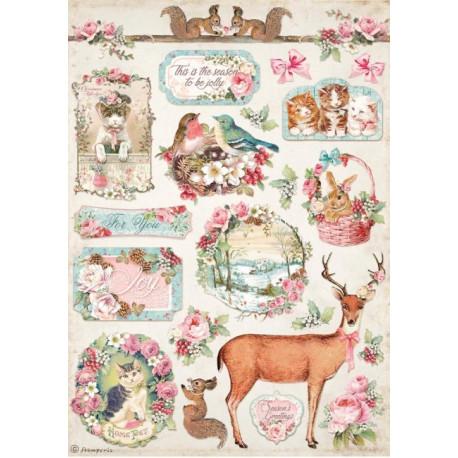 Papír rýžový A4 Pink Christmas, jelen