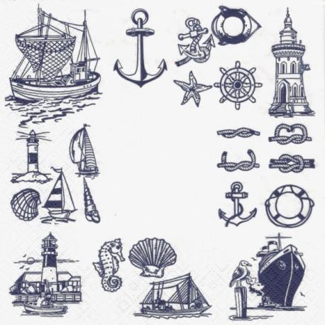 Mořské motivy modré 33x33