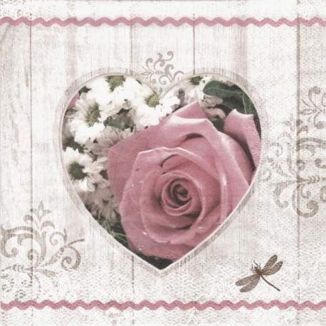 Růže a kopretiny v srdci 33x33