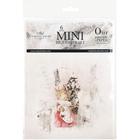 Set 6ks rýžových papírů - Vánoční obrázky s myškami (14,8x14,8cm)