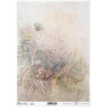 Papír rýžový A4 Luční květy akvarel III.