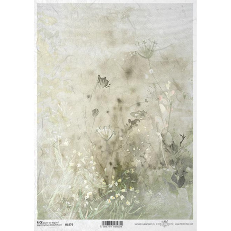 Papír rýžový A4 Luční květy akvarel IV.