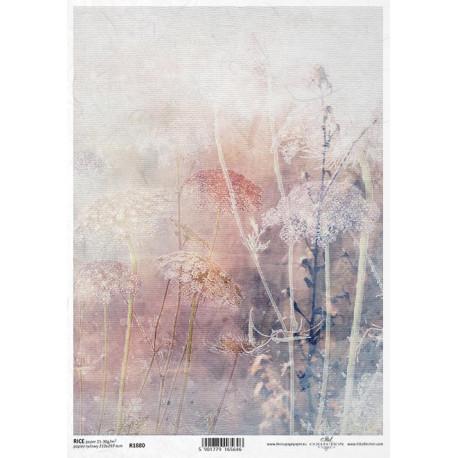 Papír rýžový A4 Luční květy akvarel V.
