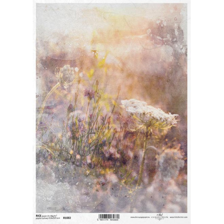 Papír rýžový A4 Luční květy akvarel VII.
