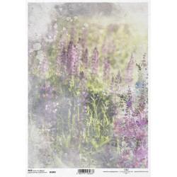 Papír rýžový A4 Luční květy akvarel VIII.