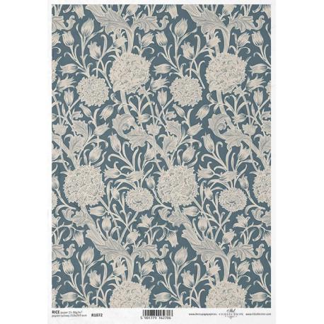 Papír rýžový A4 Art Deco, inspirace Williamem Morrisem, květy
