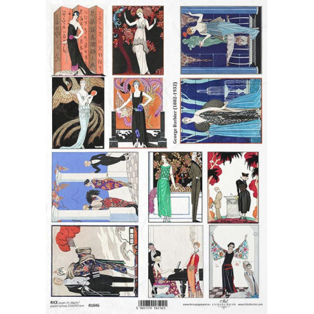 Papír rýžový A4 Art Deco, obrazy se ženami, George Barbier