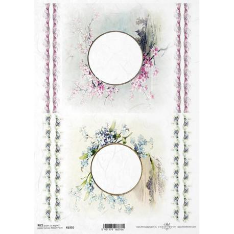 Papír rýžový A4 Kulaté rámečky, pomněnky, sakura