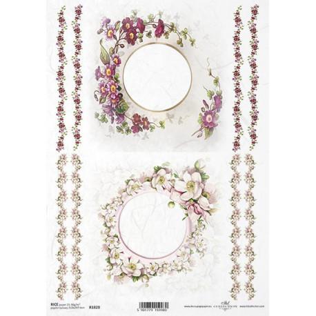 Papír rýžový A4 Kulaté rámečky, jabloňový květ, primulka