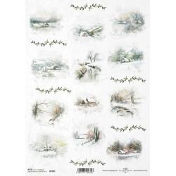 Papír rýžový A4 Zimní nostalgie, krajinky