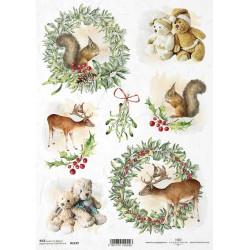 Papír rýžový A4 Vánoční, věnečky, medvídci