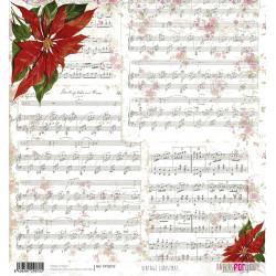 Papír rýžový 30x32 Vánoční hvězda a notové záznamy
