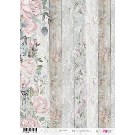 Papír rýžový A4 Růže na dřevěném pozadí