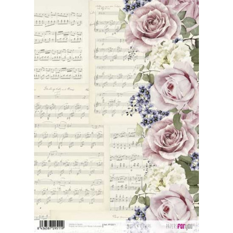 Papír rýžový A4 Noty a květy