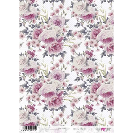 Papír rýžový A4 Květy a puntíky