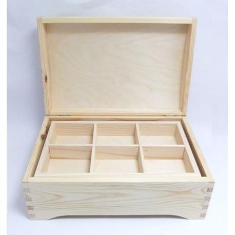 Dřevěná krabice retro s vyndávacími přihrádkami