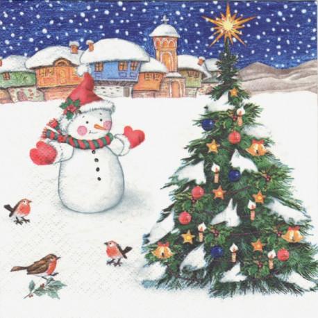 Sněhulák a vánoční strom 33x33