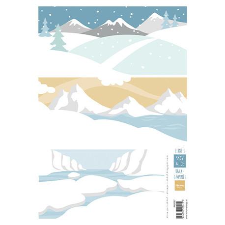 Papír A4 na pozadí, sníh a led (MD)