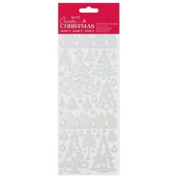 Samolepky obrysové Vánoční stromy stříbrné