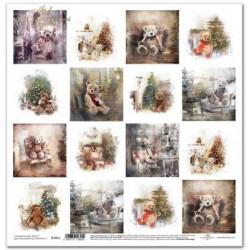 Skotský styl, malé obrázky s medvídky - scrap.papír 31x32cm (ITD)