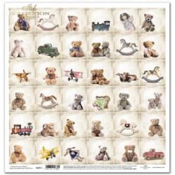 Malé vánoční obrázky s medvídky - scrap.papír 31x32cm (ITD)