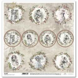 Viktoriánské Vánoce, kulaté obrázky - scrap.papír 31x32cm (ITD)