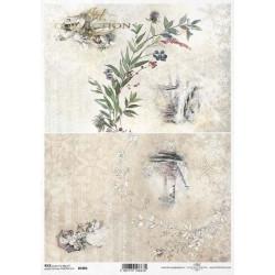 Papír rýžový A4 Viktoriánské Vánoce, dva obrázky s krajinkami II