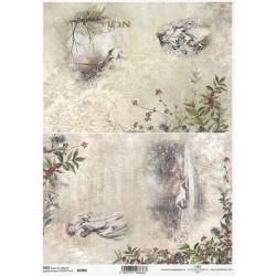 Papír rýžový A4 Viktoriánské Vánoce, dva obrázky s krajinkami I